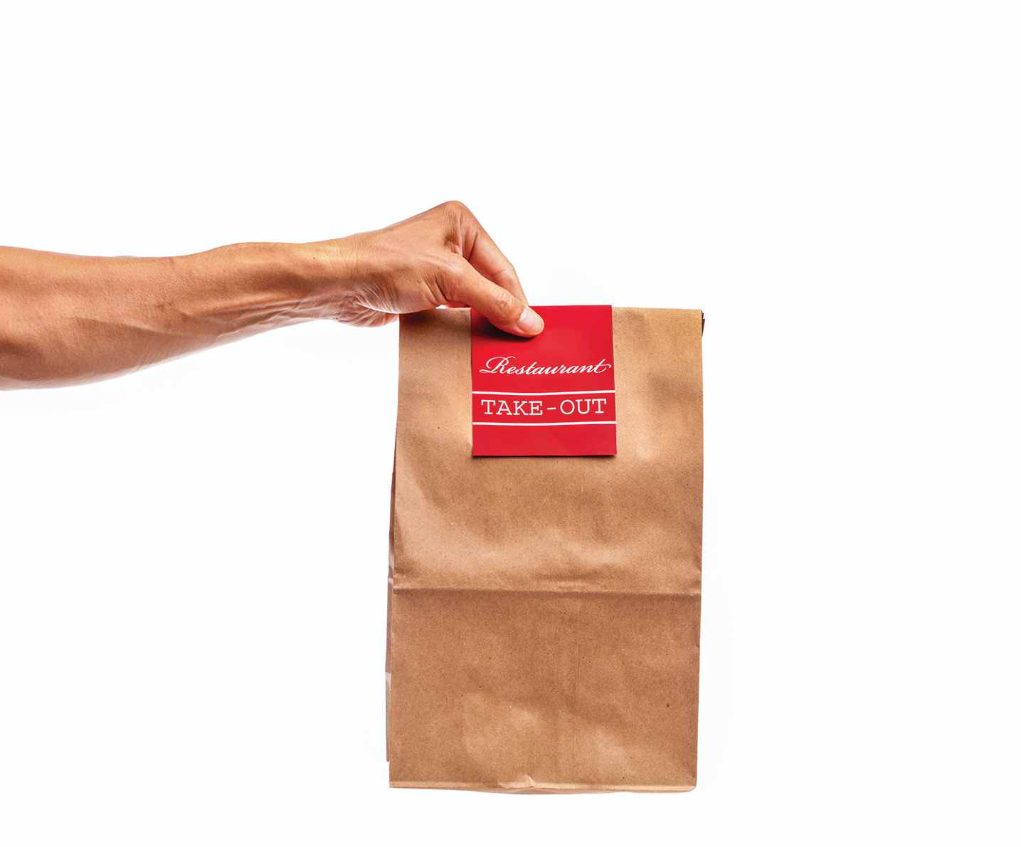 Hand Holding Take Out Bag